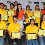 Participants of Classmate Spell Bee 2014 with Bollywood actress Soha Ali Khan and Chand Das, CEO, ITC Classmate