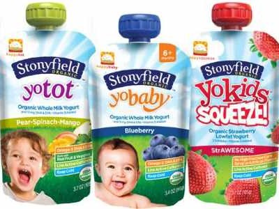 Stonyfield and Happy Family Yogurt Pouches for Babies