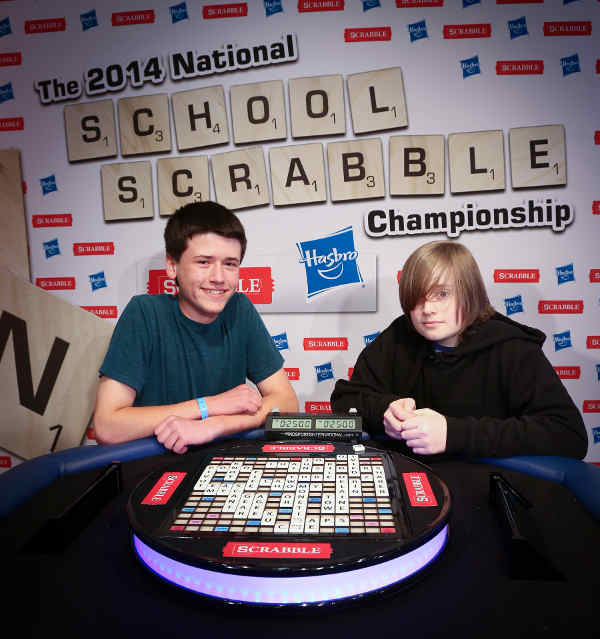 Eighth graders Jacob Sass of Texas and Thomas Draper of New Jersey are named the winners of the 2014 National School SCRABBLE Championship held in Providence, RI.
