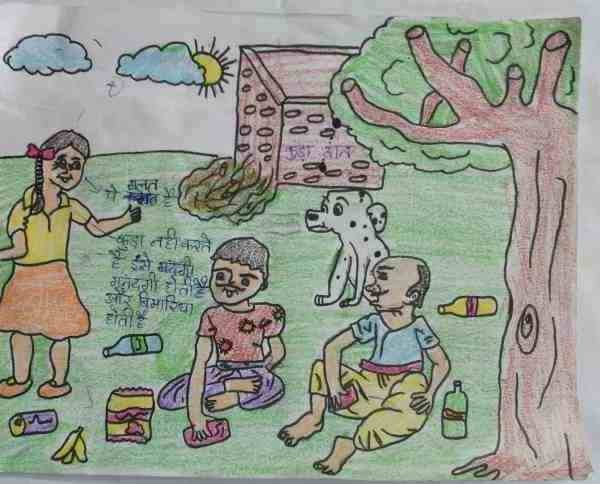 Social Evils: Illustration by 11-year-old Safina