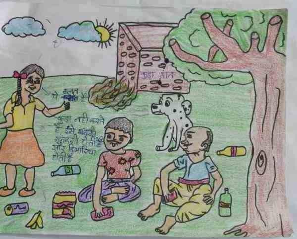 Social Evils: Illustration by 11-year-old Safina