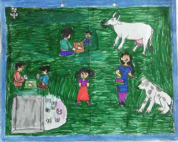 Social Evils: Illustration by 12-year-old Komal