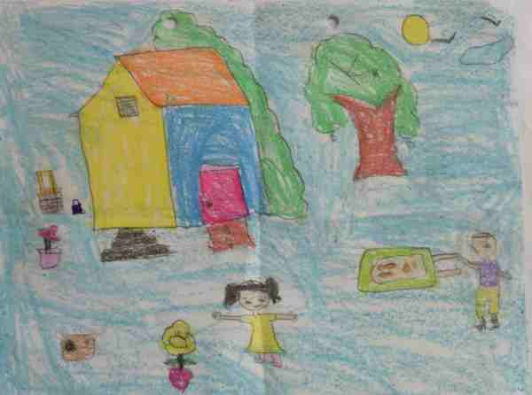Social Evils: Illustration by 6-year-old Archana
