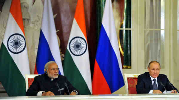 Narendra Modi and Vladimir Putin in Moscow, Russia on December 24, 2015