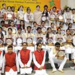 Smriti Irani with the winners of the National Bal Shree Honour in New Delhi on February 03, 2016
