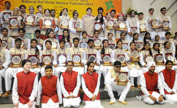 Smriti Irani with the winners of the National Bal Shree Honour in New Delhi on February 03, 2016
