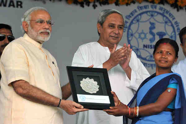 Narendra Modi at the NISER in Bhubaneswar on February 07, 2016. The Chief Minister of Odisha, Naveen Patnaik, is also in the picture.