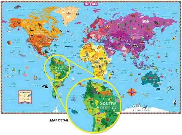 Wall art new illustrated world map for kids gumiabroncs Image collections