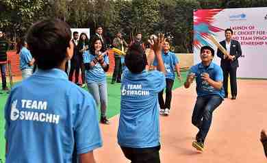 UNICEF Regional Goodwill Ambassador for South Asia Sachin Tendulkar bats at the launch of the ICC Cricket for Good and Team Swachh campaign, New Delhi