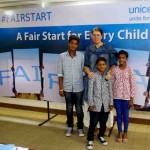Caroline Den Dulk, Chief, Advocacy & Communication, UNICEF India with Sahil, Suraj & Belinda of Fair Start advocacy campaign