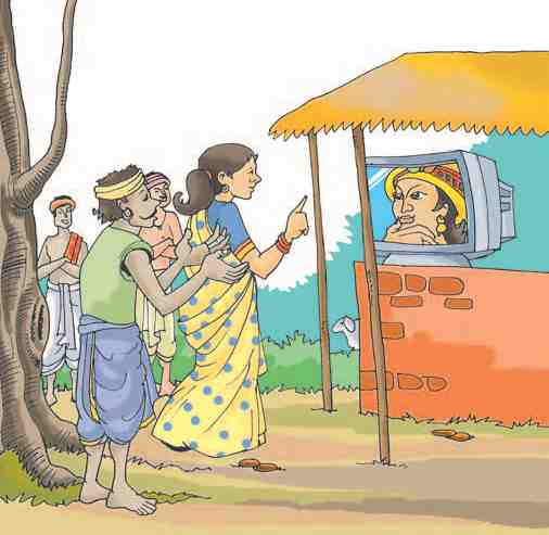 The King's Justice: People using video conferencing kiosk in a village