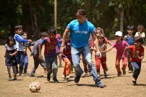On 1 June 2016, UNICEF goodwill ambassador Ricky Martin plays football with Syrian refugee children at Al-Hissa informal refugee settlement in northern Lebanon.