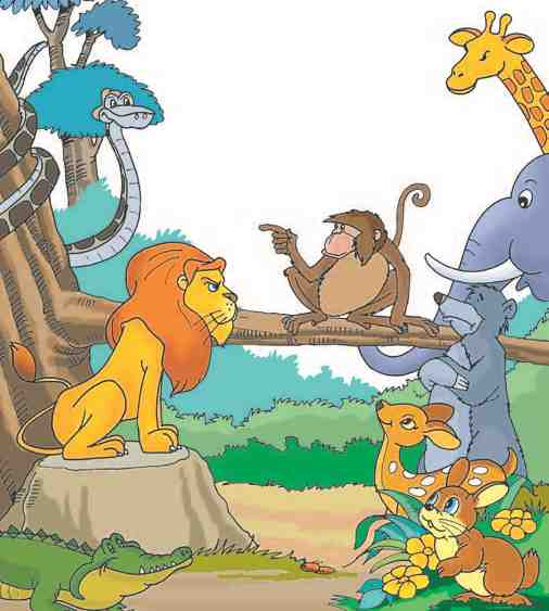 Sitavan and the Hunters: Lion King in a meeting with other animals