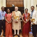 "Team of students involved in building satellite ""Sathyabama-sat"" calls on the Prime Minister, Shri Narendra Modi, in New Delhi on July 19, 2016"