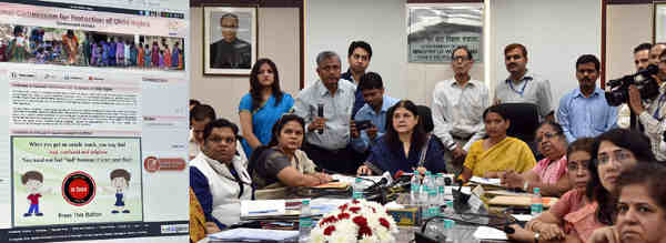 Maneka Sanjay Gandhi launching the POCSO e-box, in New Delhi on August 26, 2016