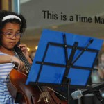 On 14 September 2016, nine-year-old Cellist Emerson Davis plays the cello during a performance at the launch of UNICEFs Time Machine