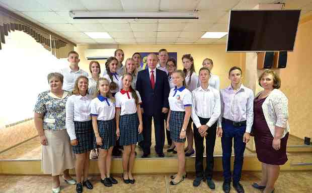 Vladimir Putin with Students