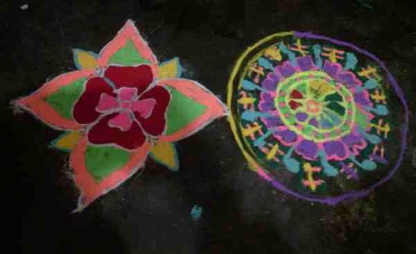 This is what children have created in the RMN Foundation Classroom. This creation is called Rangoli or the art of colors.