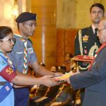 The President, Shri Pranab Mukherjee presented the Bharat Scouts & Guides Awards Certificates for the year 2015, at the presentation of the Rashtrapati Scouts & Guides Awards for the year-2015, at Rashtrapati Bhavan, in New Delhi on December 05, 2016.