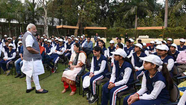 The Prime Minister, Shri Narendra Modi interacting with the youth and children from Jammu and Kashmir, in New Delhi on February 28, 2017.