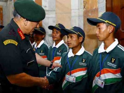 India: Students from Tirap Meet General Rawat