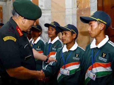 India: Students from Tirap Meet General Rawat