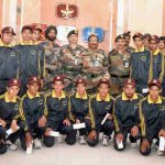 The Vice Chief of Army Staff, Lt. Gen. Sarath Chand in a group photograph with the students from Leh district of J&K and other Army Officers, in New Delhi on September 01, 2017
