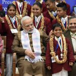Narendra Modi at the presentation ceremony of the National Bravery Awards 2017, in New Delhi on January 24, 2018