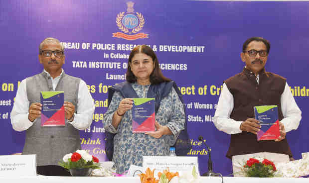 "The Union Minister for Women and Child Development, Smt. Maneka Sanjay Gandhi launching the book ""Handbook on legal processes for Police in respect of Crime against Children"", in New Delhi on June 19, 2018."