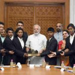 Narendra Modi meeting the members of the Mission Shaurya Team in New Delhi on June 29, 2018.