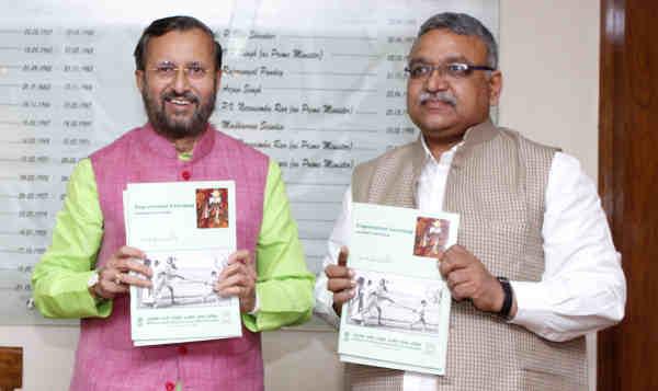 Prakash Javadekar releasing the curriculum on Experiential Learning – Gandhijis Nai Talim, in New Delhi on September 05, 2018