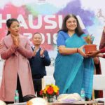 The Union Minister for Women and Child Development, Smt. Maneka Sanjay Gandhi at the inauguration of the HAUSLA-2018 Sports Meet, at JLN Stadium, New Delhi on November 28, 2018. The MP (Rajya Sabha) and Indian Olympic Boxer, Ms. Mary Kom is also seen.
