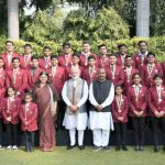Narendra Modi in a group photograph with the winners of Rashtriya Bal Puraskar - 2019, in New Delhi on January 24, 2019