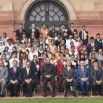 President with the winners of Tata Building India School Essay Competition