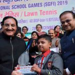 The Union Minister for Human Resource Development, Dr. Ramesh Pokhriyal 'Nishank' at the inauguration of the 65th National School Games (Tennis), at R.K. Khanna Stadium (DLTA), New Delhi on December 24, 2019. Photo: PIB